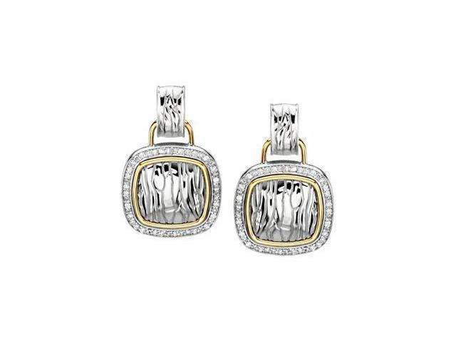 Diamond Earrings Sterling Silver & 14K Yellow 1/2 Ct Tw Pair
