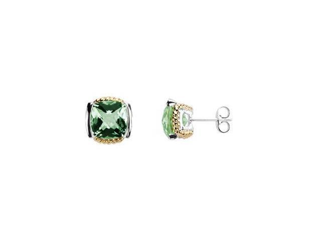 Genuine Checkerboard Green Quartz Earrings 14K Yellow & Sterling Silver Pair