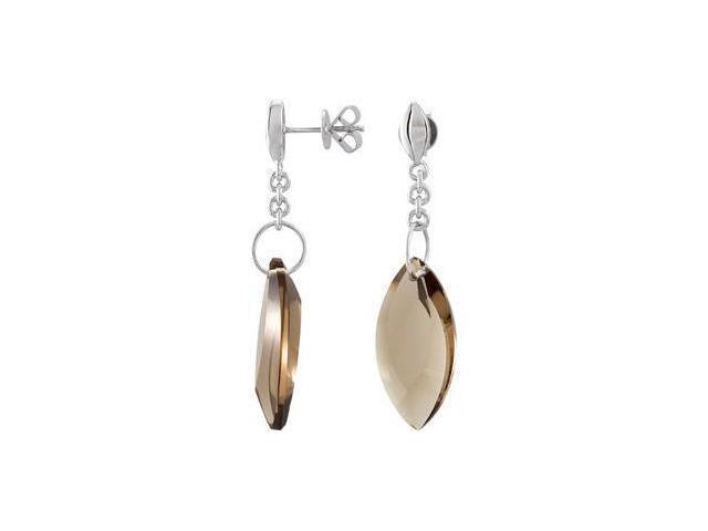 Genuine Smoky Quartz Earrings Sterling Silver Pair 24.00X12.00 mm
