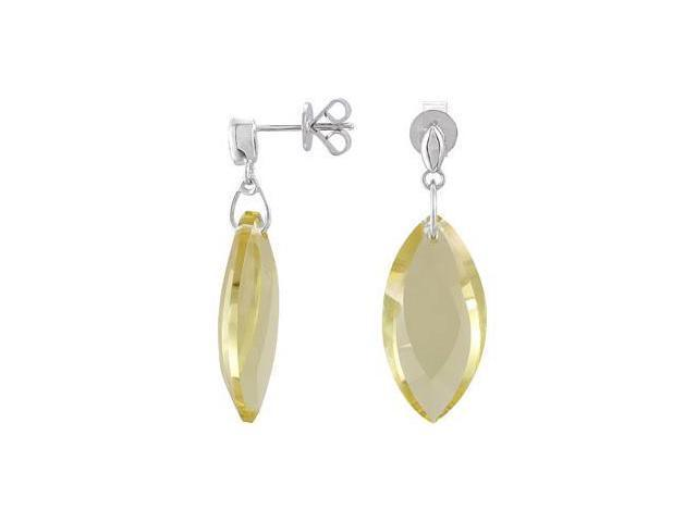 Genuine Lime Quartz Earrings Sterling Silver Pair/ 24.00 X 12.00 mm