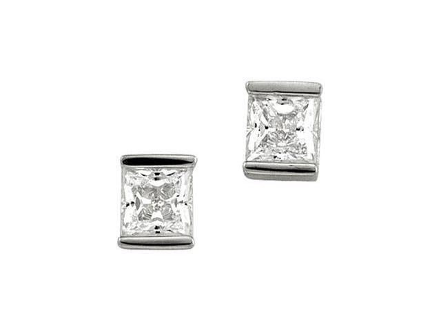Cubic Zirconia Earring Sterling Silver Pair 05.00X05.00 mm