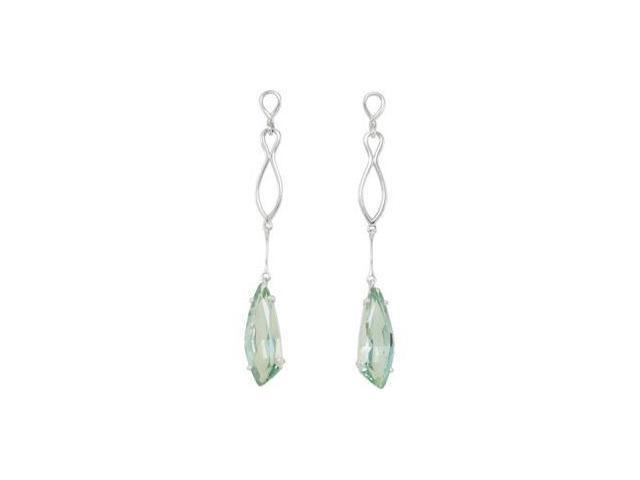 Genuine Green Quartz Earrings Sterling Silver Pair 26X9mm