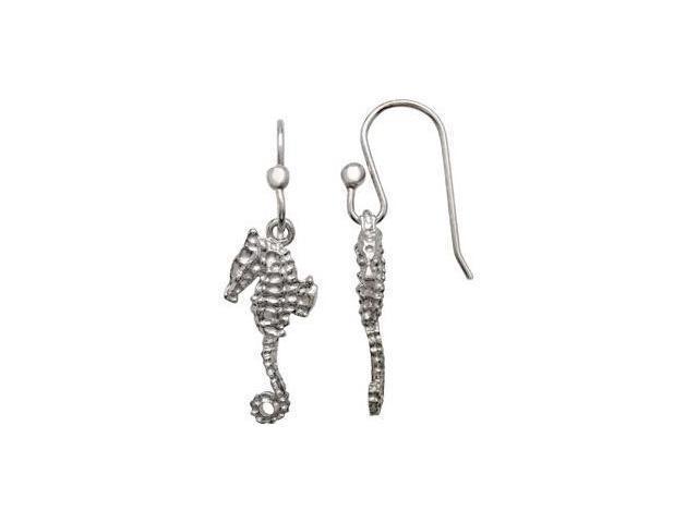 Seahorse Earrings Sterling Silver Pair 20.97X09.05 mm