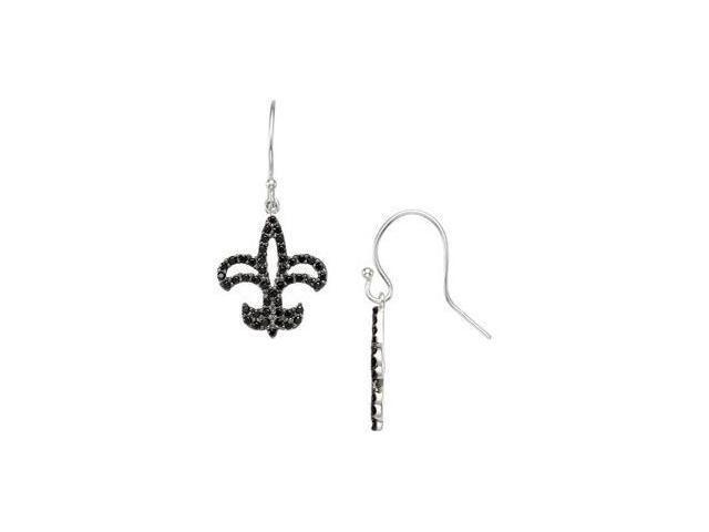 Genuine Black Spinel Earrings Sterling Silver Pair