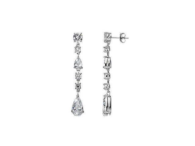 Cubic Zirconia Earrings Sterling Silver Pair