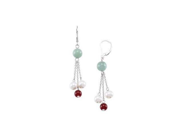 Freshwater Cultured Pearl Genuine Red Agate & Genuie Jade Earrings Sterling