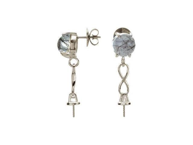 Genuine Tourmalinated Quartz Semi Set Earrings Sterling Silver Pair 10Semi Set