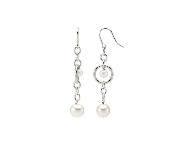 Freshwater Cultured Pearl Earrings Sterling Silver 05.00-05.50 mm/ 09.00-09.50