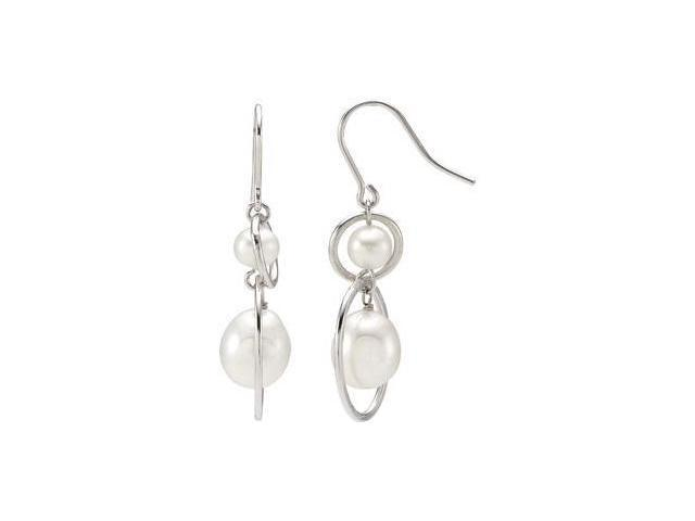 Freshwater Cultured Pearl Earrings Sterling Silver 05.50-06.00 mm/ 09.00-09.50