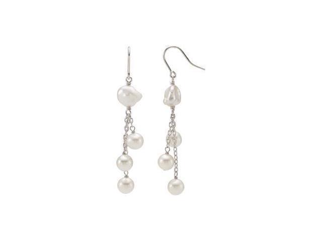 Freshwater Cultured Pearl Earrings Sterling Silver 07.00-07.50 mm/ 09.00-10.00