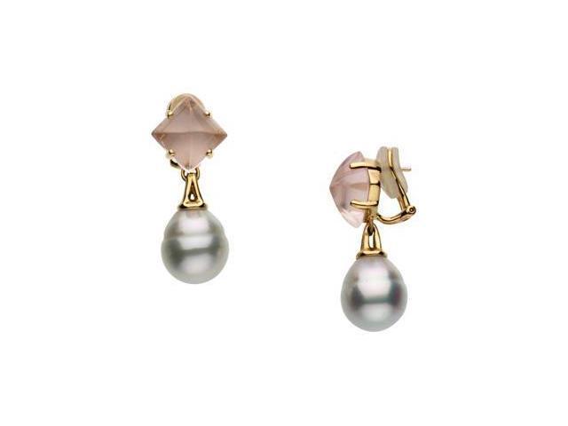 Aquarella South Sea Cultured Pearl & Genuine Rose Quartz Omega Back Earrings