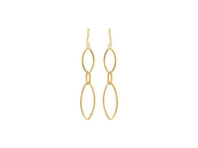 14Ky Gold Clad Sterling Silver Dangle Earrings 14Kycladster Pair 59.00X12.75 mm