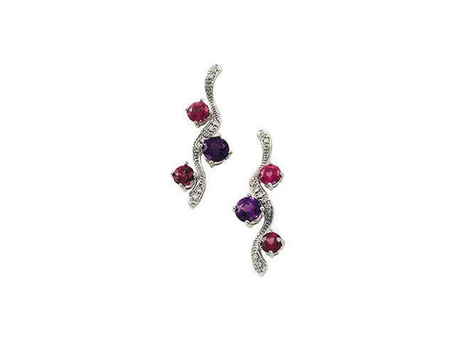 Genuine Amethyst,Rhodolite Garnet,Pink Tourmaline And Diamond Earring