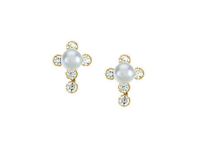 Children'S Pearl And Cz Cross Earrings With Backs