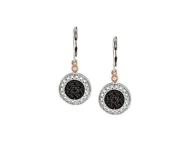 Two Tone Black & White Diamond Leverback Earrings