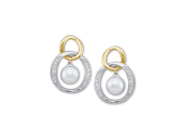 Two Tone Akoya Pearl And Diamond Earring