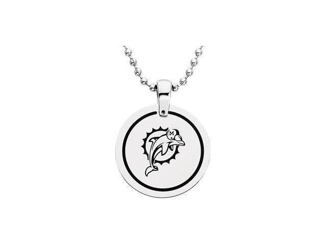 CleverEve's Stainless Steelmiami Dolphins Team Name & Logo Disc W/Chain 28.00mm