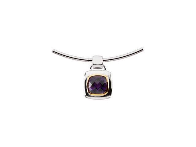 CleverEve's Genuine Amethyst Pendant Sterling Silver & 14K Yellow 10.00X10.00 mm