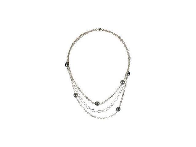 Tahitian Cultured Pearl Necklace Sterling Silver 09.00 mm/ 18.00 Inch