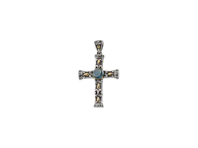 Genuine Cab London Blue Topaz Cross Pendant Sterling Silver & 14K Yellow