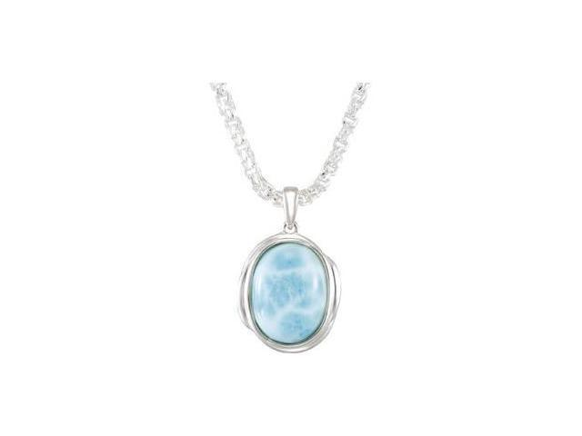 CleverEve's Sterling Silvergenuine Larimar Necklace 16.00X12.00 mm/ 18.00 Inch