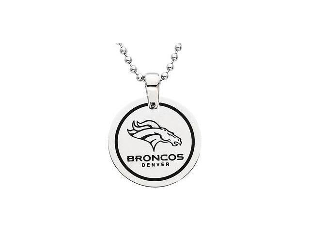 CleverEve's Stainless Steeldenver Broncos Team Name & Logo Disc W/Chain 28.00mm