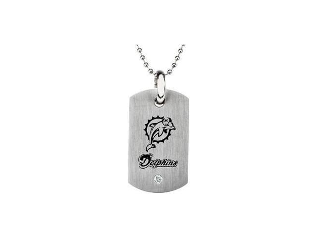 CleverEve's Stainless Steelmiami Dolphins Logo Dog Tag W/Chain 45.50mm X 26.00mm