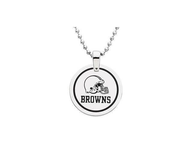 Stainless Steelcleveland Browns Team Name & Logo Disc W/Chain 28.00mm