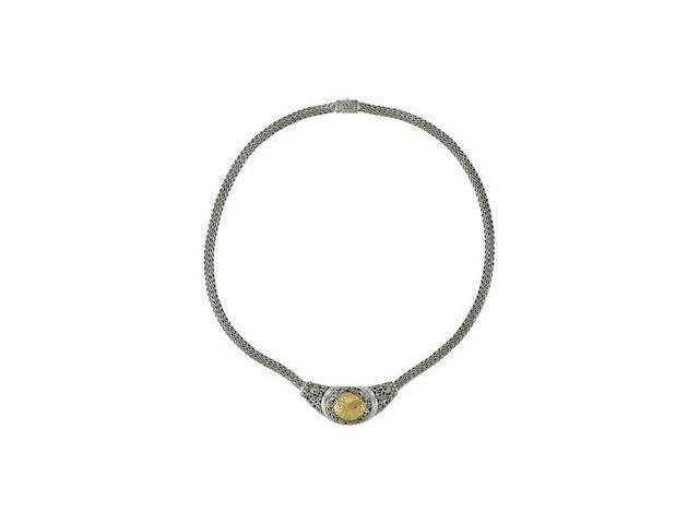 CleverEve's Sterling Silver & 18K Yellowsterling Silver/18Ky Necklace 17.00 Inch