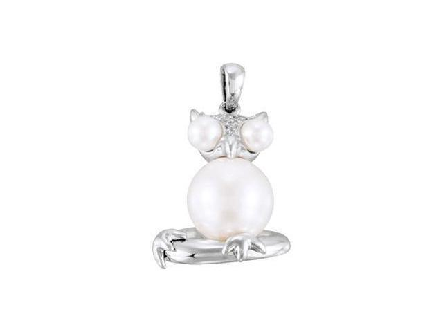Freshwater Cultured Pearl Owl Pendant Sterling Silver 3.5-4mm/9.5-10mm/.05 Ct Tw