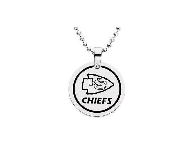 Stainless Steelkansas City Chiefs Team Name & Logo Disc W/Chain 28.00mm