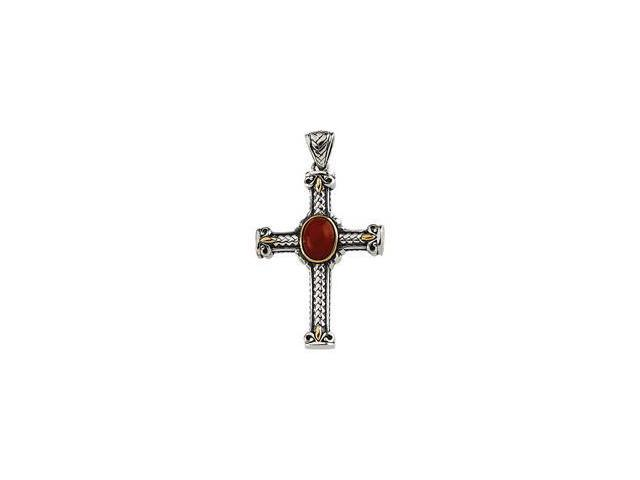 Genuine Cab Dyed Red Coral Pendant Sterling Silver & 14K Yellow 34.00X24.50 mm