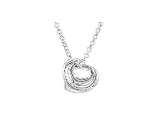Double Floating Heart Necklace With 02.00 Extension Sterling Silver 16.00 Inch