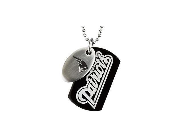 Stainless Steelnew England Patriots Team Name & Logo Double Dog Tag W/Chain