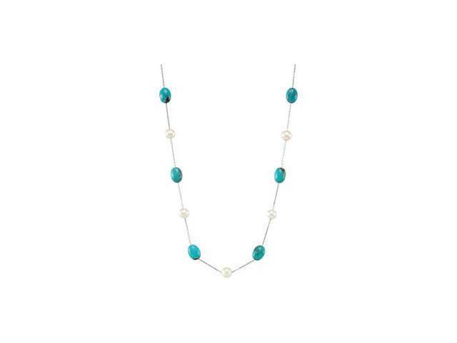 Freshwater Cultured Pearl & Genuine Turquoise Necklace Sterling Silver