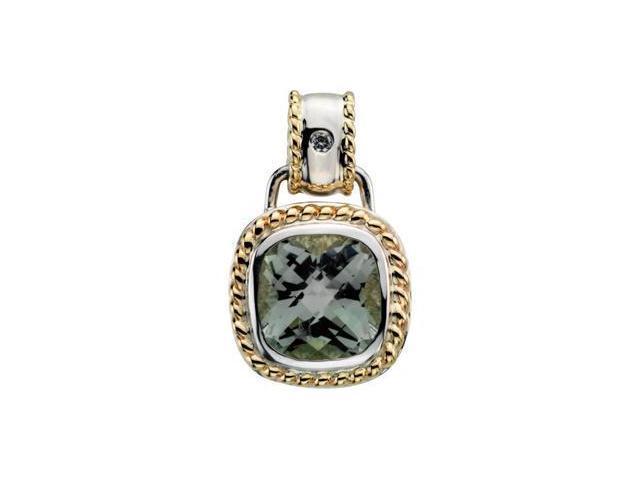 Genuine Checkerboard Green Quartz & Diamond Pendant Sterling Silver & 14K Yellow