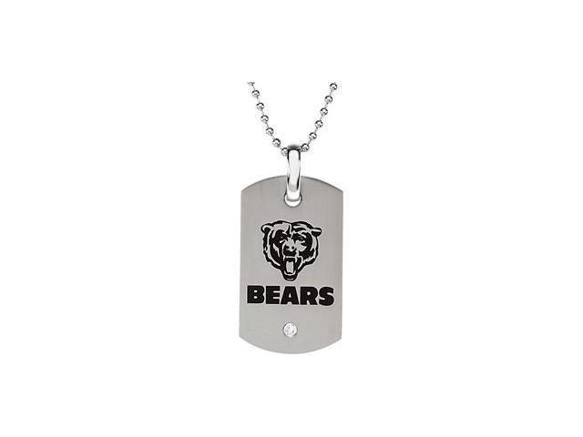 CleverEve's Stainless Steelchicago Bears Logo Dog Tag W/Chain 45.50mm X 26.00mm