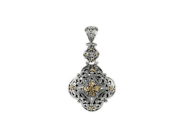 Sterling Silver & 18K Yellowsterling Silver Fashion Pendant With 18Ky Accents