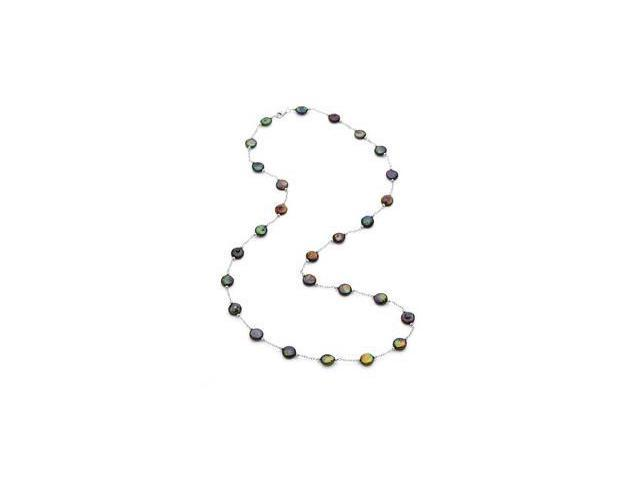 Cultured Black Pearl Station Necklace Sterling Silver 12.00-13.00/ 38 Inch