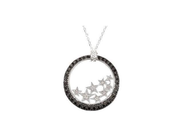 Genuine Black Spinel And Diamond Necklace Sterling Silver .06 Ct Tw/18.00 Inch
