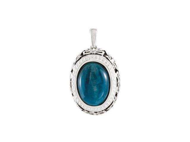 CleverEve's Genuine Opaque Apatite Pendant Sterling Silver 15.00 X 11.00 mm