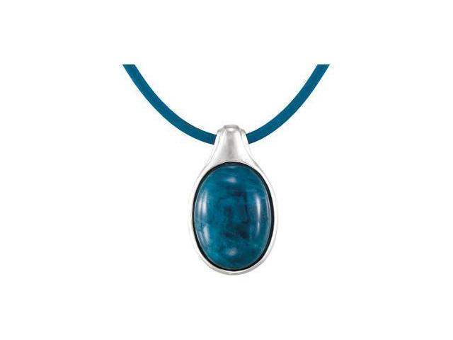CleverEve's Sterling Silvergenuine Opaque Apatite Necklace 16.00X12.00 mm