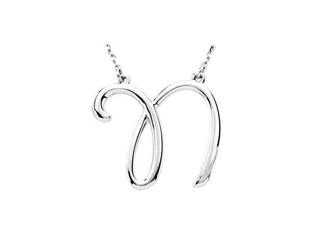 CleverEve's Silver Fashion Script Initial Necklace Sterling Silver N 16