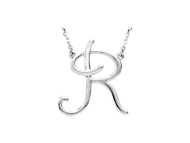 CleverEve's Silver Fashion Script Initial Necklace Sterling Silver R 16