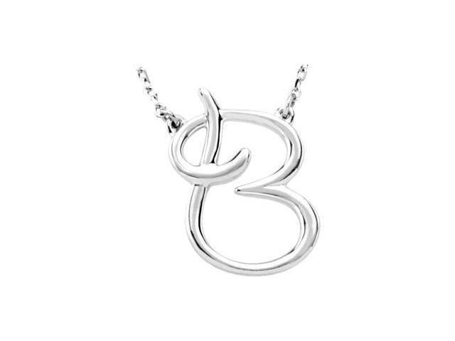 CleverEve's Silver Fashion Script Initial Necklace Sterling Silver B 16