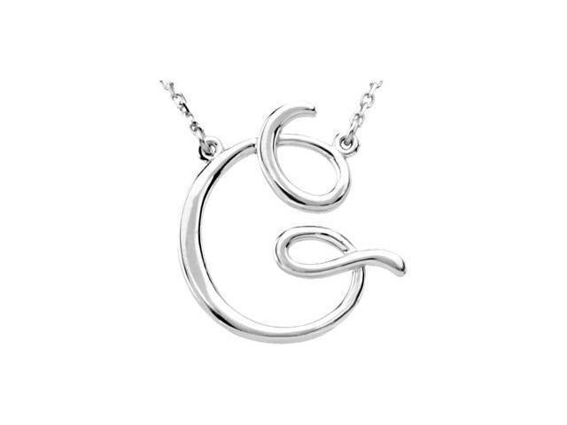 CleverEve's Silver Fashion Script Initial Necklace Sterling Silver G 16