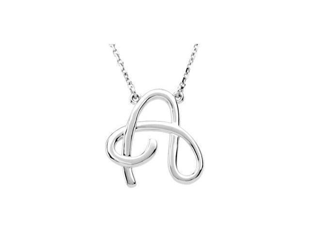CleverEve's Silver Fashion Script Initial Necklace Sterling Silver A 16