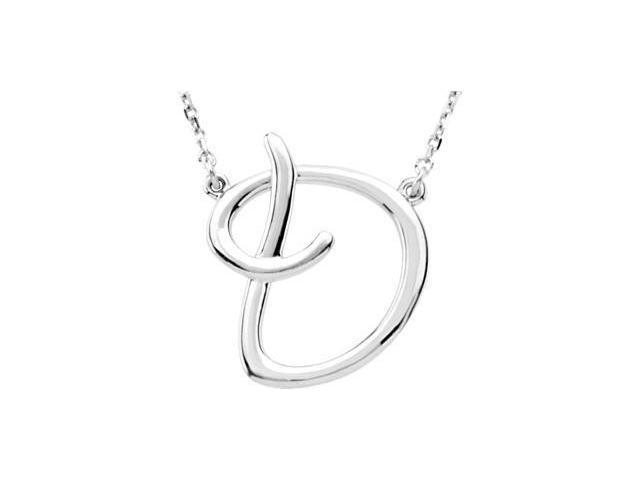 CleverEve's Silver Fashion Script Initial Necklace Sterling Silver D 16