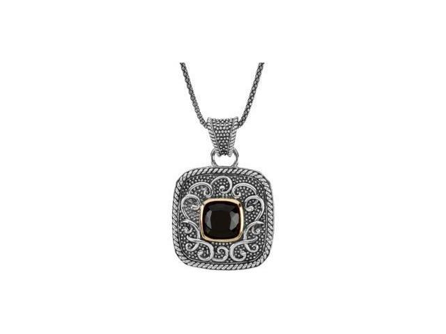 CleverEve's Genuine Onyx Necklace Sterling Silver & 14K Yellow 10.00 mm