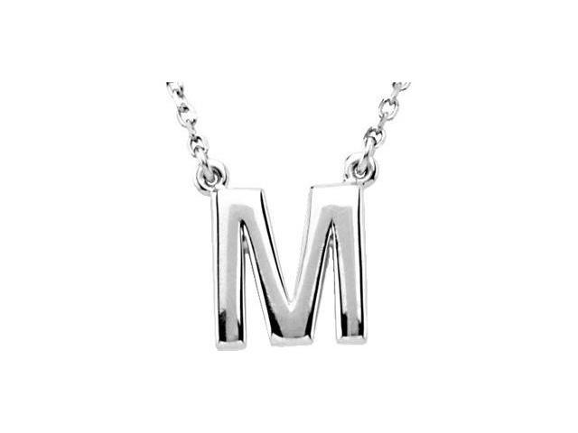 CleverEve's Silver Fashion Block Initial Necklace Sterling Silver M 16